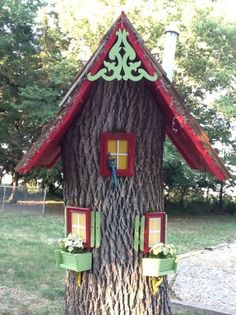 Learn how to turn a dead tree stump into a cute fairy house or gnome house. Gnome Tree Stump House, Fairy Tree Houses, Gnome House, Fairy Garden Houses, Garden Trees, Fairies Garden, Fairy Village, Gnome Garden, Mini Fairy Garden