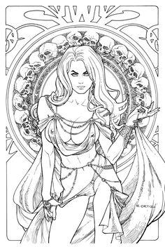 Lady Death: Regal Jewel Edition. Line Art. by Ric1975.deviantart.com on @DeviantArt