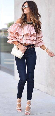 beautiful outfit idea top + bag + skinny jeans + heels