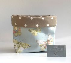 Blue and Brown Butterfly Fabric Storage Basket Bathroom Accessories Storage Bin Bedroom Decor Nursery Storage Fabric Storage Baskets, Storage Bins, Storage Ideas, White Lace Curtains, Painting Ceramic Tiles, Nursery Storage, Nursery Organization, Black Construction Paper, Cushion Pads