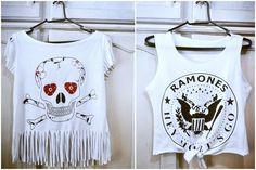 Customização de camiseta: Cropped com franja e com nózinho