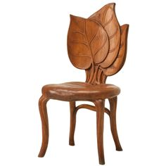 c.1890-1910 French Art Nouveau Sculptural Leaf Chair | From a unique collection of antique and modern chairs at https://www.1stdibs.com/furniture/seating/chairs/