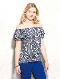 Whether you're catching up with friends at happy hour or heading out for date night, wear this top to wow the crowd. Pair with your darkest wash jeans, a few bangles and your go-to wedges for a look we know you will love.  #tops #trends #offshoulder #offtheshoulder #dressbarn