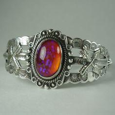 Vintage Native American Navajo Sterling Silver Dragon's Breath Bracelet