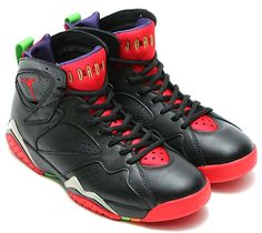 detailed look 7e579 8ddc8 NIKE AIR JORDAN 7 RETRO MARVIN THE MARTIAN  BLACK   UNIVERSITY RED-GREEN  PULSE-COOL GREY  (304775-029)