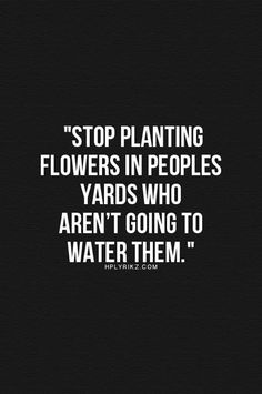 Wise Words- stop planting flowers
