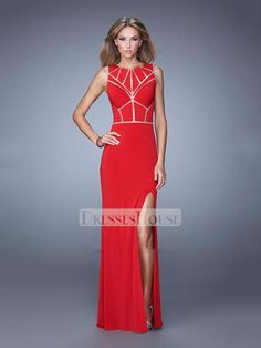 Elegant Boat Neckline Keyhole Cutout Back High Slit Chiffon Prom Dress PD11985