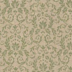 Damask Leaves Vintage Wallpaper Green   1950s Vintage Antique Wallpaper