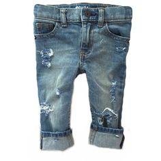 """Vintage Wash """"HT"""" Jeans- Distressed Denim for Kids- Girls- Boys-... ($28) ❤ liked on Polyvore featuring baby"""