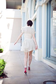 vintage lace dress from Shareen, Rodarte sunglasses, vintage earrings, and Louboutin pumps.