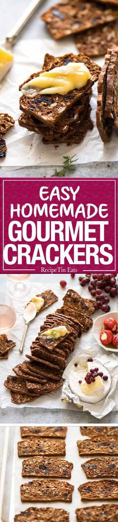 Homemade Gourmet Crackers with Cranberries - simple to make, tastes way better and costs less than 20% that buying these at gourmet stores! Fantastic crackers for creamy cheeses, especially blue cheese. www.recipetineats.com