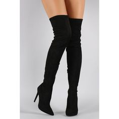 Liliana Suede Pointy Toe Stiletto Over-The-Knee Boots ($76) ❤ liked on Polyvore featuring shoes, boots, black shoes, black over-the-knee boots, black stiletto boots, black boots, thigh boots and thigh high stiletto boots