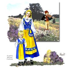 Sweden - Swedish girls traditional dress blue yellow