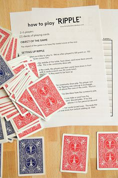 Looking for card games to play? Try this fun one called Ripple out! Printable instructions and score sheet included below. Math Card Games, Family Card Games, Card Games For Kids, Playing Card Games, Dice Games, Activity Games, Group Card Games, Card Games To Play, Family Fun Night