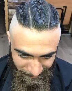 A Viking Hairstyles Mohawk Braid with Beard. Mohawk Hairstyles Men, Dreadlock Hairstyles, Headband Hairstyles, Braided Hairstyles, Hair And Beard Styles, Mens Long Hair Styles, Viking Haircut, Mohawk Ponytail, Undercut Long Hair