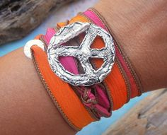 Peace Sign Jewelry, Boho Jewelry, Bohemian Chic Silk Wrap Bracelet by HappyGoLicky | Coupon code PIN10 saves you 10% now- just CLICK.