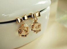 Bow Crystal Korean Cute Fashion Earrings Eh130521008 11 77 Aoppy Online