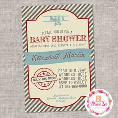Vintage Airplane Baby Shower Invitation Digital by BlaineLeeCo