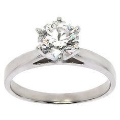 1.17 Cttw F SI Round Diamond Solitaire Engagement Ring in 14K White Gold by…