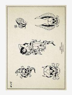 Black Tattoos, Small Tattoos, Traditional Tattoo Skull, Antique Tattoo, Traditonal Tattoo, Vintage Tattoo Design, Lucky Tattoo, Tattoo Catalog, Pin Up Girl Tattoo