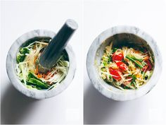 Thai Green Papaya Salad (Som Tam ส้มตำ) Thai Green Papaya Salad, Thai Restaurant, Salads, Vegan Recipes, Plant, Favorite Recipes, Diet, Cooking, Ethnic Recipes