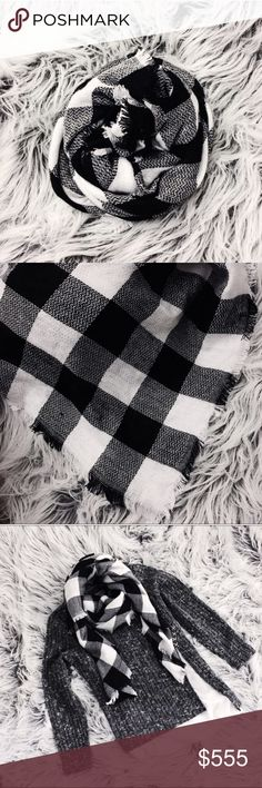 "NEW | Black and white plaid blanket scarf Brand new never worn LARGE blanket scarf approx 55"" x 55"" Karis' Kloset  Accessories Scarves & Wraps"