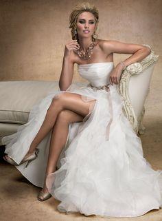 $223 - Dreamy A-line Strapless Sash/ Ribbon Cascading Ruffles  Split  Front Wedding Dress at #sponsored http://shrsl.com/?~5upw #convann2