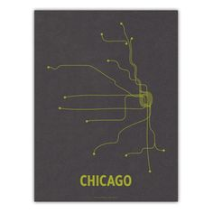 A modern graphic interpretation of the Chicago 'L' transit system. x Screen Print French Paper's Steel Gray cover with lime ink. Graphic Prints, Graphic Design, Chicago Travel, Grey Yellow, Screen Printing, Hair Accessories, Ink, Steel, Modern