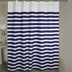 Shower Curtains Nautical Stripes_Striped Shower Curtain Set Horizontal Striped Shower Curtain 108 x 78 Inches Bath Curtain for Shower_Bath_Bathroom Accessories Blue White * Find out more about the great product at the image link.