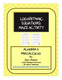 Algebra 2 PreCalculus Logarithmic and Exponential Equation Algebra 2 Activities, Free Activities, Math Resources, Teaching Tips, Teaching Math, Logarithmic Functions, Math Courses, Math Tutor, Trigonometry