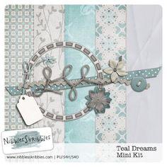Teal Dreams tiny kit freebie from Nibbles Skribbles #scrapbook #digiscrap #scrapbooking #digifree #scrap