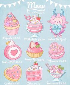 Menu Illustration, Kawaii Illustration, Food Illustrations, Cute Food Drawings, Cute Kawaii Drawings, Kawaii Art, Kawaii Doodles, Cute Doodles, Cute Food Art