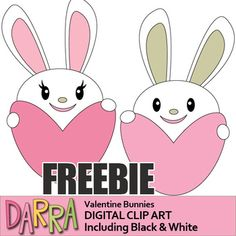 Valentine's day FREEBIE. Enjoy! Cute bunnies clip art. Bunny holding heart clipart. Happy Valentine's day! This freebie is also fun for Easter activities and centers. GET MORE FREEBIES HERE Link-DARRA FREEBIES