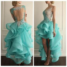 Perfect dress  2016 Vestido High Low Prom Dresses Lace Applique Organza Ruffles V Neck Party Gowns 2015 Cheap Short Homecoming Dress See Through Back Mint Green Prom Dresses Perfect Prom Dress From Personalcustom, $120.42| Dhgate.Com