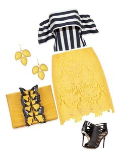 """yellow dream"" by fotini3181 on Polyvore featuring River Island, Natasha Accessories, Nancy Gonzalez and L.A.M.B."