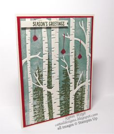 Cattail Designs: Stampin Up, Playing with Christmas goodies Woodland embossing folder, Among the Branches stamps, Wonderland stamps.