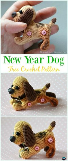 Crochet Little New Year Dog Amigurumi Free Pattern - #Amigurumi Puppy #Dog Stuffed Toy Crochet Patterns