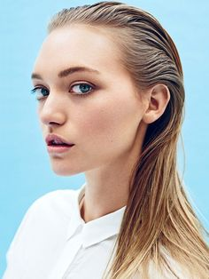 Gemma Ward's slicked back hair // Photo by Beau Grealy for Sunday Style Australia- amazing natural look