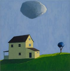 "House, Cloud and Tree by Scott Redden, 2005, oil on canvas, 18"" x 18"""