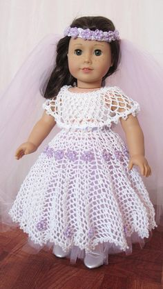 White and Lavender Wedding or Ball Gown  18 American