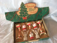 VINTAGE BRADFORD UNBREAKABLE PLASTIC CHRISTMAS TREE ORNAMENTS CANDLE ANGEL CHOIR