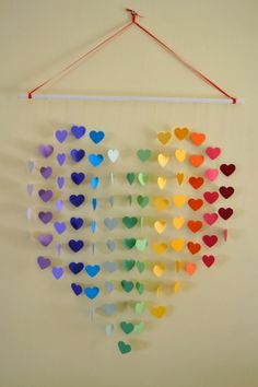 Items similar to Rainbow Heart Mobile / Wall Hanging – Nursery Mobile Baby Shower Decor & Gift/ New Baby Gift/ Rainbow Nursery / Playroom / Wedding Gift on Etsy Chakra Heart Mobile Diy And Crafts, Crafts For Kids, Arts And Crafts, Paper Crafts, Creative Crafts, Handmade Crafts, Decoration Creche, Rainbow Nursery, Rainbow Wall