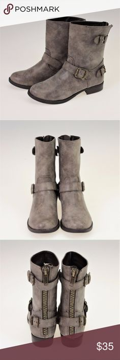 "Gray Distressed Faux Microsuede Buckle Moto Boots These adorable boots are the PERFECT mate for your favourite moto jacket. There are three buckle accents. The back two are velcro clasped so you can access the zipper in the back of each boot. They are just shy of 9"" tall with a heel height of about 1"". These do not come in a box and may have slight scuffing on the sole due to shelf wear only. (These were the display set in our store) Shoes Combat & Moto Boots"