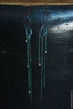 Купить Серьги В потоке - синий, серьги, длинные серьги, медь, жемчуг, шпинель