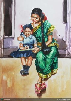Discover Painting by Ratheesh Kumar on Touchtalent. Touchtalent is premier online community of creative individuals helping creators like Ratheesh Kumar in getting global visibility. Indian Women Painting, Indian Art Paintings, Watercolor Portraits, Watercolor Paintings, Watercolor Wolf, Composition Painting, Picture Composition, Indian Drawing, Indian Illustration
