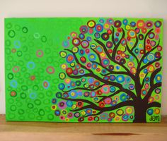 Louise Meadhead. Kinder Auction Artwork idea- Paint a tree like this onto canvas and kids place handprints in the circles. Needs to be unisex colours.