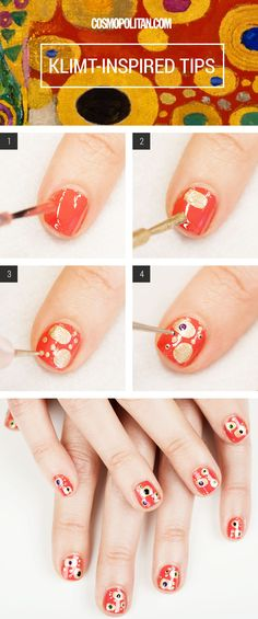 Cosmo has made a good thing | Klimt Manicure Nail Art How To - Klimt Nail Tutorial - Cosmopolitan