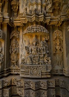 Carving Cut In Rock Of Lord Shiva And The Goddess Parvati At Keshava Temple, Somnathpur, India
