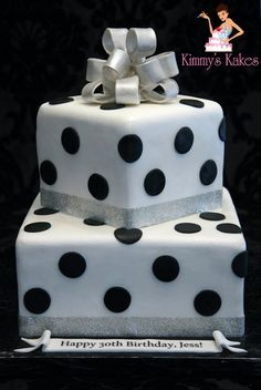 Black Polka Dots and Silver Glitz ~ all edible Wedding Cakes With Cupcakes, White Wedding Cakes, Cool Birthday Cakes, 30 Birthday, Fondant Cakes, Cupcake Cakes, Polka Dot Cakes, Polka Dots, Michael Kors Cake