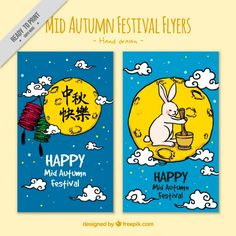 Mid-autumn festival hand drawn flyers  Free Vector